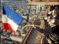 Flag raised on Eiffel Tower