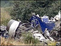 TV grab image taken from Russian NTV channel showing the wreckage of a Tupolev 154 passenger jet