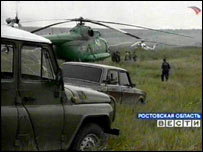 Russian rescue jeeps and helicopters