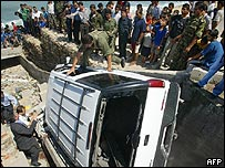 Palestinians gather around the car of the acting head of the Palestinian intelligence services