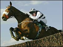 Moscow Flyer clears the last fence in the Melling Chase