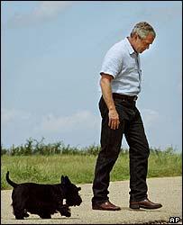 President George W. Bush and his dog Barney