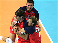 Russian volleyball players celebrate