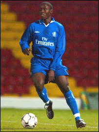 Ugandan-born Joel Kitamirike in action for Chelsea