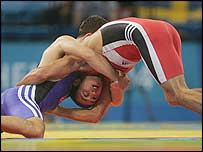 Turkey's Seref Eroglu gets to grips with Farid Mansurov of Azerbaijan
