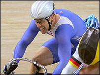 Jamie Staff (left) competes in the keirin