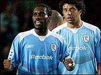 Okocha celebrates after scoring for Bolton