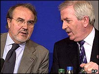 Irish Finance Minister Charlie McCreevy, right, and Ecofin Council President Pedro Solbes