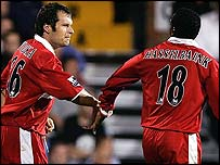 Mark Viduka and Jimmy Floyd Hasselbaink celebrate Boro's opening goal