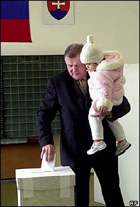 Slovak presidential candidate Vladimir Meciar votes on 3 April