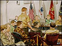 David Hicks (centre) is portrayed in a courtroom illustration, 25 August 2004