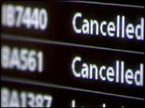 Cancellation board at Heathrow airport