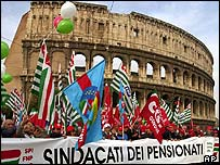Protests in front of the Colosseum
