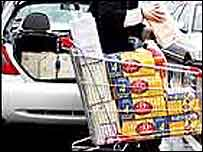 Alcohol being loaded into a car from a supermarket trolley