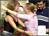 Student celebrating GCSE results