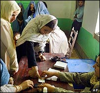 Afghan woman gives her thumb impression for her voter identity card