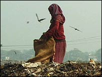 Woman collecting rubbish at the city rubbish tip in Dhaka, the capital of Bangladesh