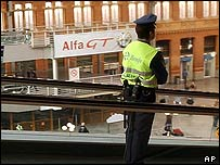 Guard at Atocha railway station, Madrid
