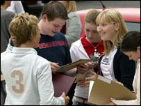 Pupils receiving results in Northern Ireland