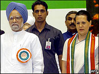 Manmohan Singh (left) with Sonia Gandhi