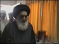 Ayatollah Sistani en route between Najaf and London for heart surgery
