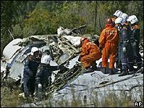 Socorristas e investigadores en los restos del Tupolev 134