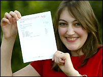 Rachel Harris, holding up her GCSE exam results