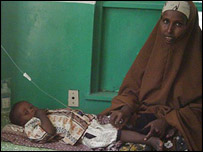 Fadumo Ahmed Ali (r) has somewhere to treat her three-year-old son for cholera.