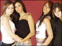Casey Jay Wilcox-Simmons, Niki Fitzgerald, Vicci Lewis and Tara Panayi, of Cardiff girl band Dragonheart