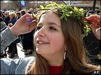A girl wears a garland in the Bulgarian port city of Varna
