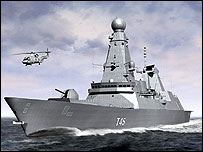 Artist's impression of type 45 warship  HMS Dauntless