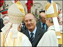 President Jacques Chirac (centre) with archbishops