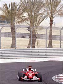 Michael Schumacher in action in the Bahrain Grand Prix