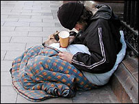 Homeless person on street in US