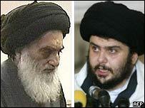 Ayatollah Ali Sistani (L) and Moqtada Sadr