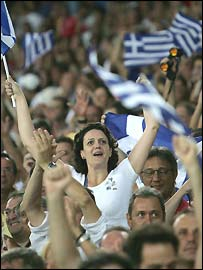Greek fans at the Olympics