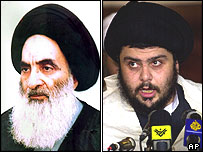 Ayatollah Ali Sistani (left) and cleric Moqtada Sadr