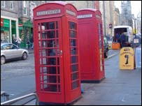 A red telephone box in Edinburgh