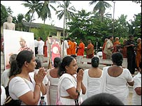 Devotees and supporters at the ceremony