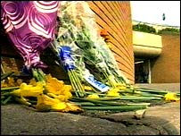 Flowers at the scene of the murder at the White Hart roundabout subway