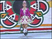 A competitor in the World Irish Dancing Championships in Belfast