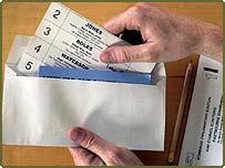 Postal vote in envelope