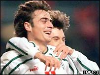 Dimitar Berbatov celebrates scoring for Bulgaria against Denmark in a World Cup qualifier