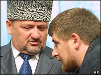 Akhmad Kadyrov (left) with son Ramzan (archive pic)