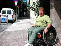 Disabled woman outside