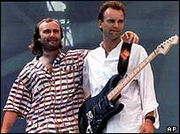 Phil Collins (left) and Sting at Live Aid