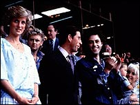 Prince Charles and Princess Diana with Bob Geldof at Live Aid