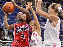 US player Shannon Johnson in action against Russia