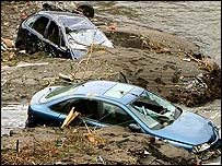 Wrecked cars in Boscastle