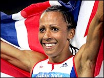 Great Britain's Kelly Holmes celebrates her 800m victory in Athens